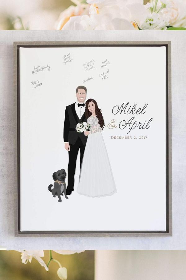 Custom Pet Portrait Wedding Guest book by Miss Design Berry, $224