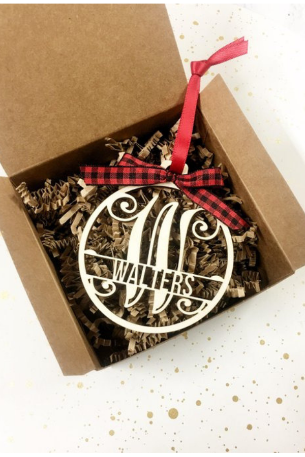 Personalized Wooden Ornament by JS Crafty Studio, $14.