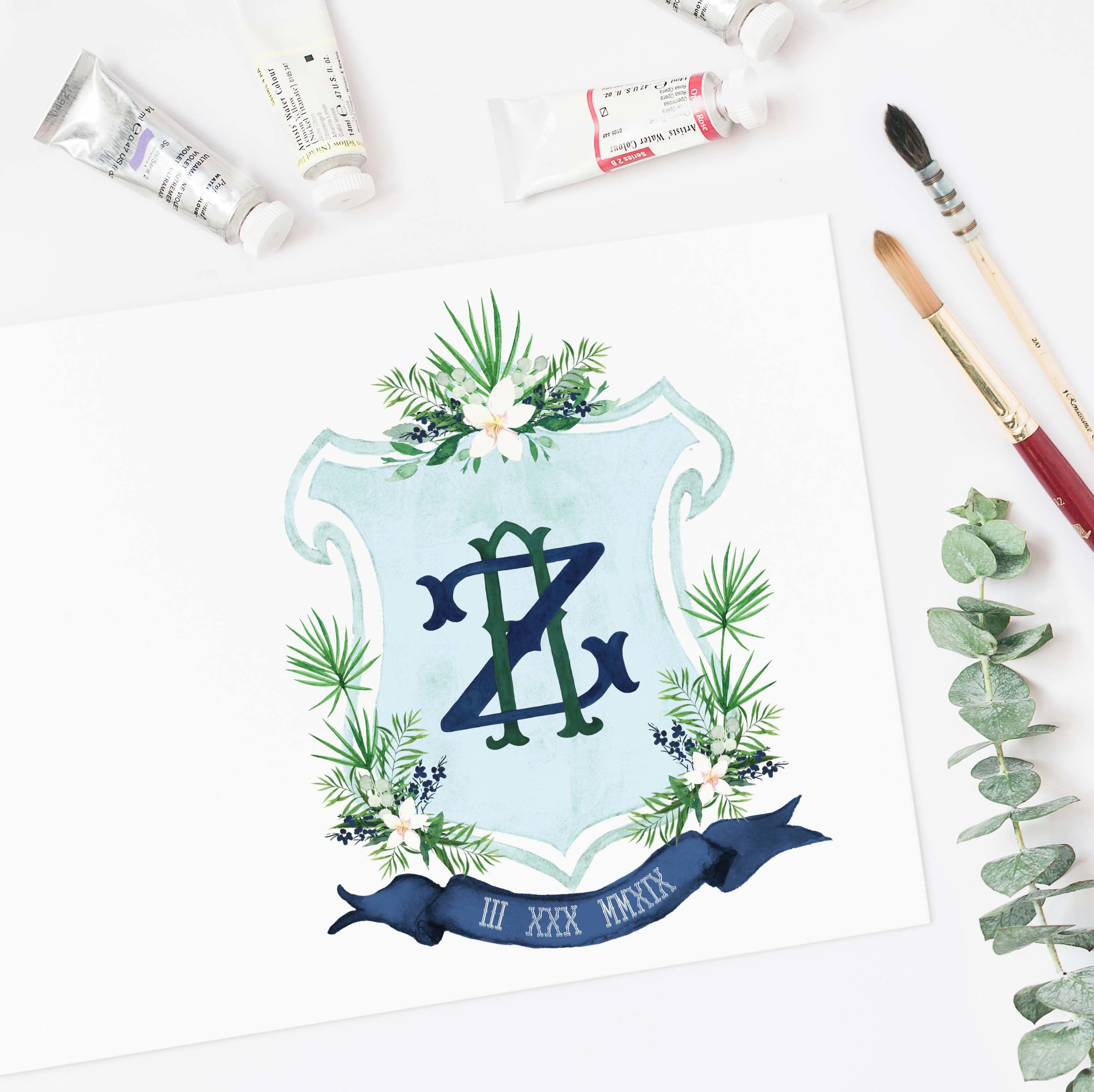Tropical Wedding Crest Watercolor with Palm Leaves and Navy.jpg