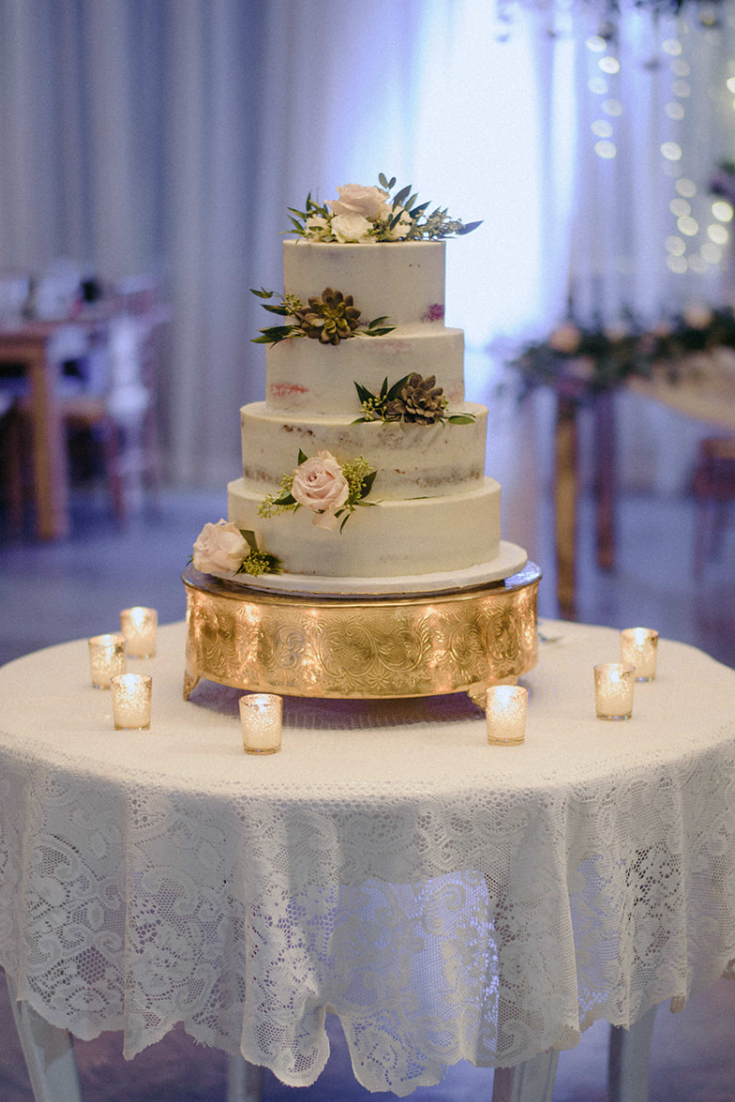 Real Wedding Airey and Jack at Drakewood Farm in Nashville Tennessee - wedding cake on gold stand Prim + Pretty Prints 3.png