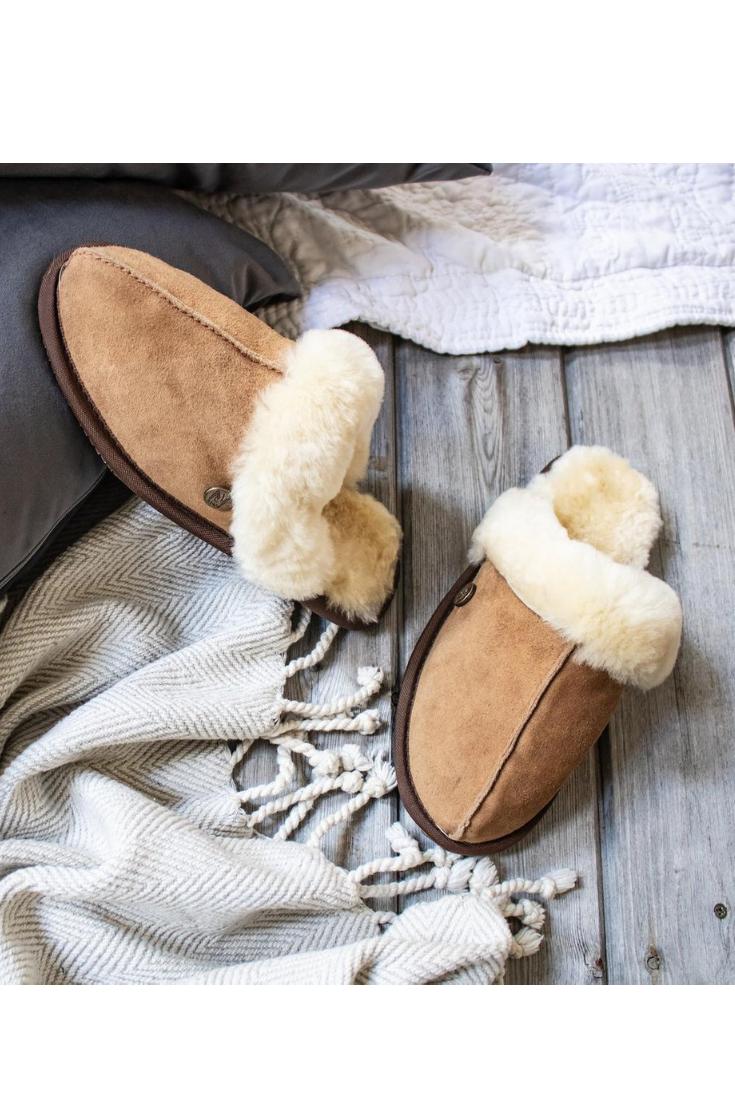 Sheepskin Slippers by Mahi Leather, $101.  Image via Mahi Leather.