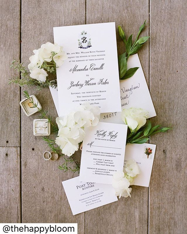 We love this classic and clean invitation suite from @primprettyprints! Typically, we will style an invitation suite on of our many @heirloombindery styling boards - but every now and then we'll come across a surface on the wedding day that we just love. Our bride, Alex, was getting ready in a coastal cottage with the cutest front porch. The gray weathered wood was just perfect for this wedding suite in Watercolor, Florida! | Photo: @thehappybloom | Film Lab: @richardphotolab | Venue: @watercolor_weddings | Planning: @lschilders | Florist: @myrtieblue | Hair + Makeup: @halosalonrossville | Bride's Dress: @annebarge | Bridesmaids' Dresses: @bellabridesmaids | Shoes: @sam_edelman | Videographer: @22magnolias | Ceremony Music: WMP Quartet | Reception Music: Musical Fantasy | Catering: @foow30a | Cake: Confections on the Coast | Suits: @josabank | Invitations: @primprettyprints | Bridal Shop: @maggielouisebridal