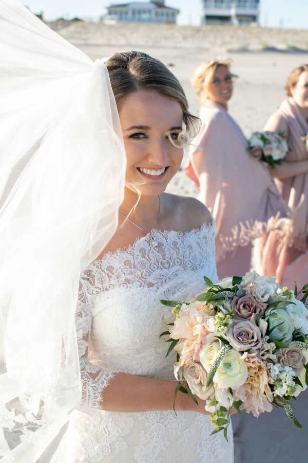 Real Wedding on Long Beach Island at Brant Beach Yacht Club -Bride lace wedding dress and long veil.png