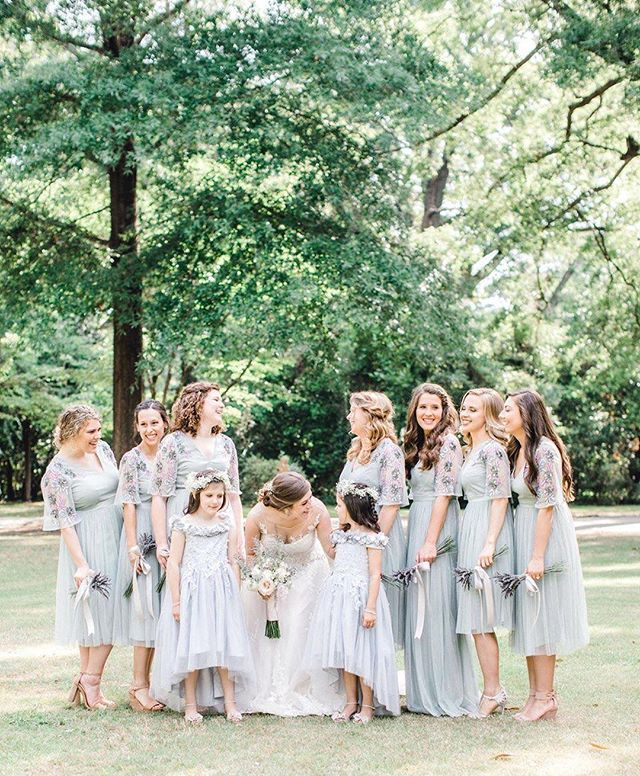 #Repost via @glamandgrace  Today's #brunchwedding had the prettiest bridal party in a dreamy color palette! See more on #glamourandgrace today at the profile link 👉 . Photography by @tierneyriggsphotography, planning and florals by #timsawyer, dress from @evelynsbridal, bridesmaid dresses from @asos, hair by @jennados_, makeup by @thestudio.asalon, paper goods by @primprettyprints, submitted via @matchology . #bridalparty #bridesmaids #bridetribe #squadgoals #bridesmaiddress #bridesmaiddresses #weddingparty #bridesmaidoutfit #flowergirldress #gardenwedding #springwedding #lavenderwedding #pursuepretty #thatsdarling #handmadewedding #romanticwedding #vintagebride #vintagewedding #heirloomwedding #aislesocietyblogger