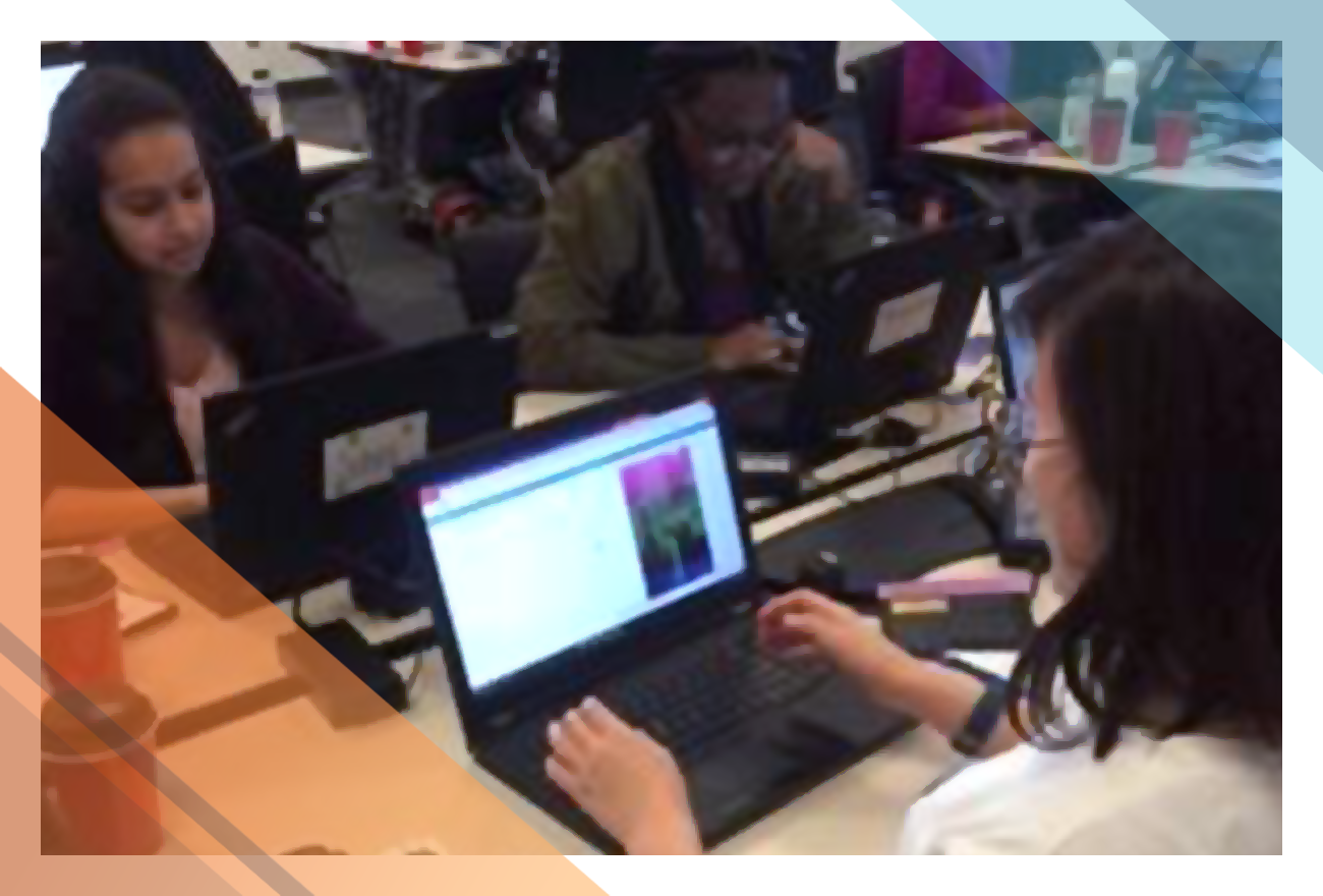 Students participate in a Recoloring the Universe hands-on workshop at Akamai Boston.
