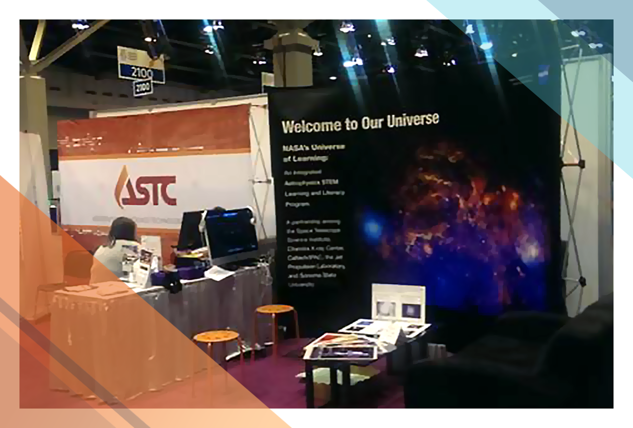 Association of Science-Technology Centers exhibit of NASA Astrophysics education resources at the American Alliance of Museums Annual Meeting.