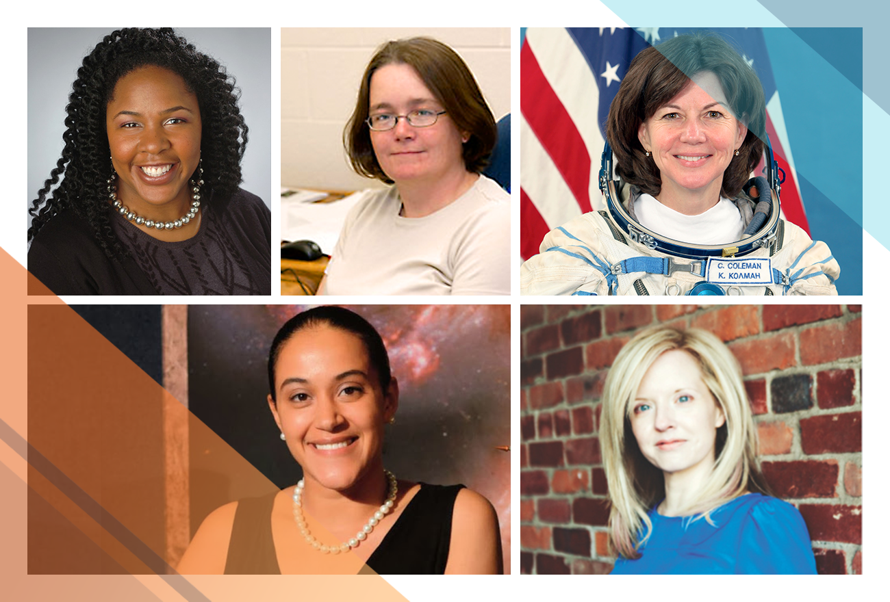 Science Briefing presenters, left to right: [top row] Jedidah Isler, Julie McEnery, and Cady Coleman, [bottom row] Jessica Kenney and Kim Arcand