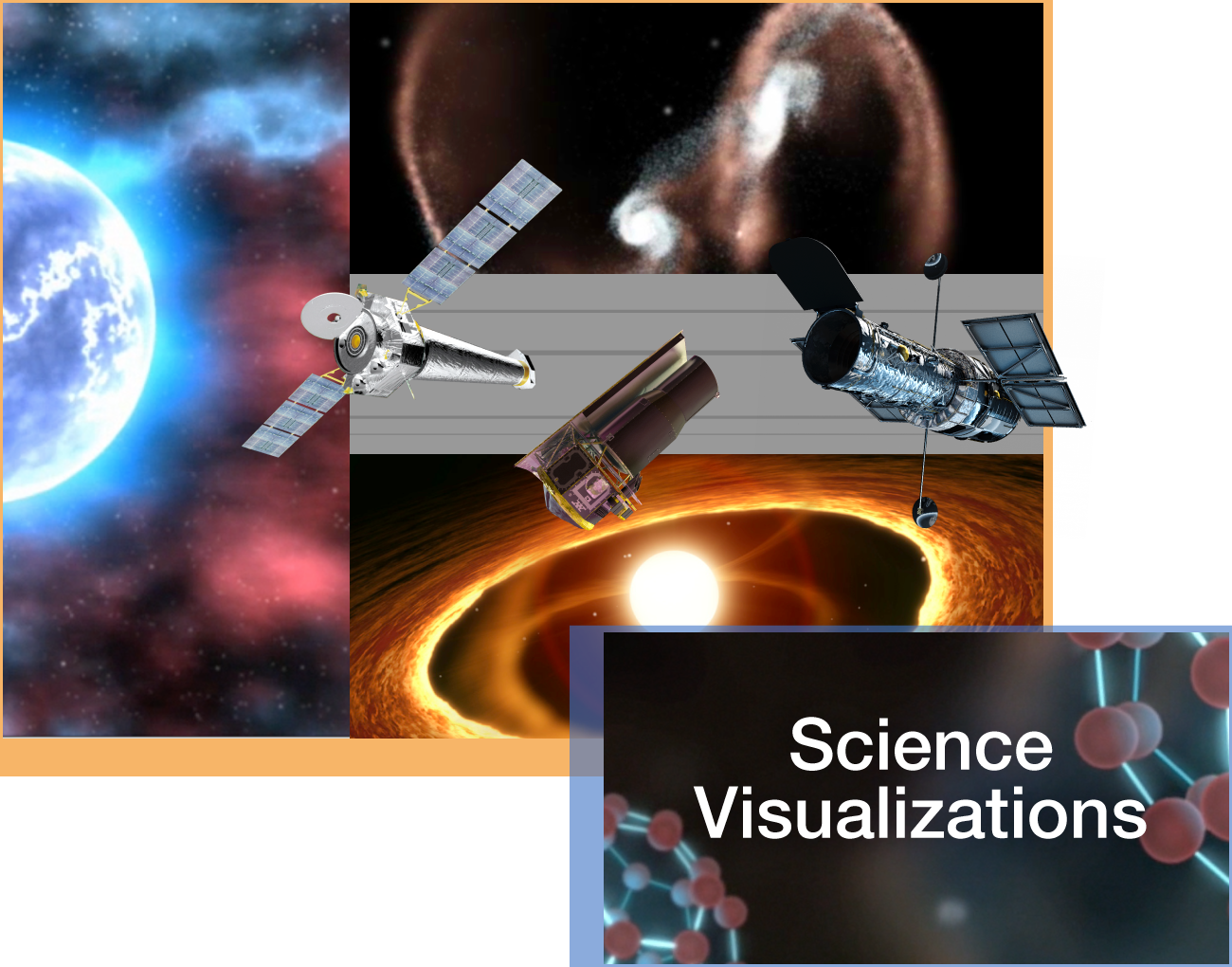 - Visualizations are powerful tools for communicating NASA Astrophysics. Based on the data collected by astronomical observatories, these visualizations are grounded in science data and are accurate representations of the cosmos. Informal educators can use these visualizations within their astronomy activities, presentations, and displays.Audience: All LearnersWebsite: Astrovisualization platformVideo: Flight Through the Orion Nebula in Visible and Infrared LightVideo: Shedding New Light on the Whirlpool GalaxyVideo index: Hubble Space Telescope VisualizationsVideo index: Spitzer Space Telescope VisualizationsVideo index: Chandra X-ray Observatory VisualizationsVideo index: Hubble Space Telescope Dome Visualizations