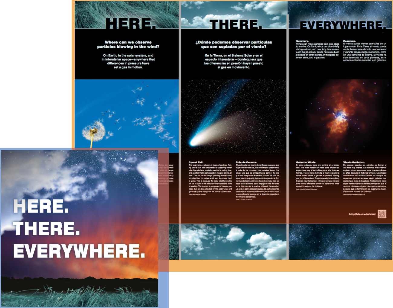 Here, There, Everywhere - This program connects science content in the fields of Earth science, planetary science, and astrophysics with everyday phenomena. Its purpose is to demonstrate the universality of physical laws and the connection between our everyday world and the universe as a whole to members of the public who may not identify strongly with science.Audience: All LearnersWebsite: Here, There, Everywhere projectExhibit material: Information for venues (webpage)