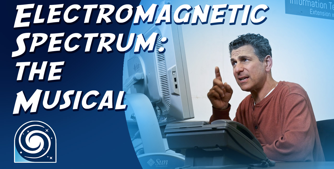 Video still from the Electromagnetic Spectrum: the Musical with title overlay