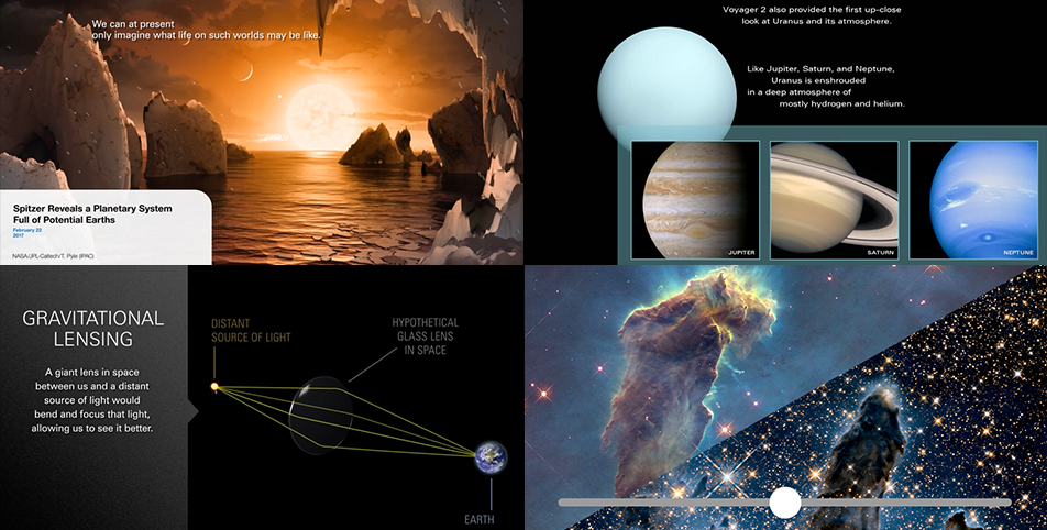 An interactive slider and 3 video stills from various ViewSpace projects