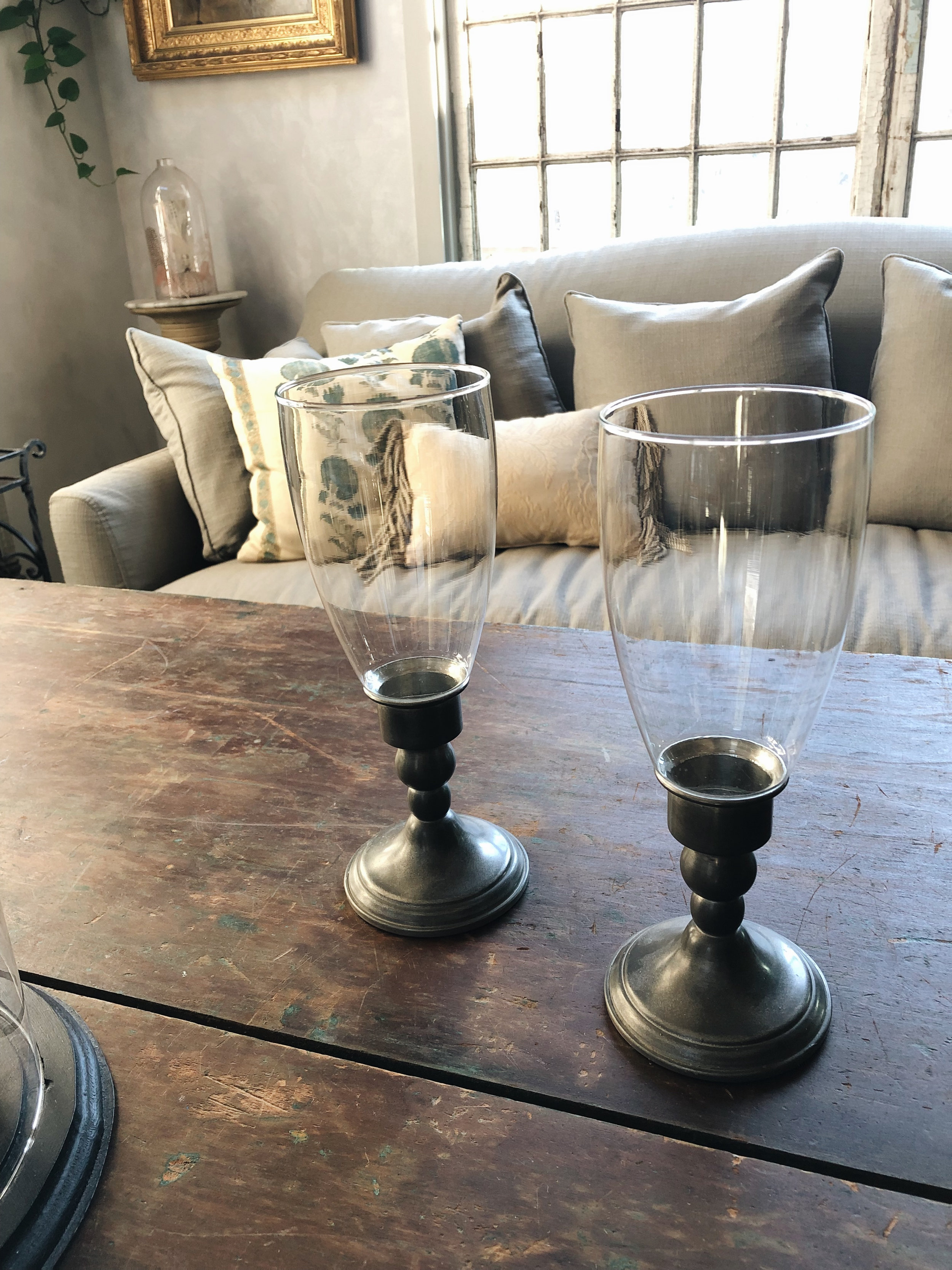 Pewter Hurricane Candlesticks - These pewter and glass hurricane candlesticks are hard to find! 10 1/2