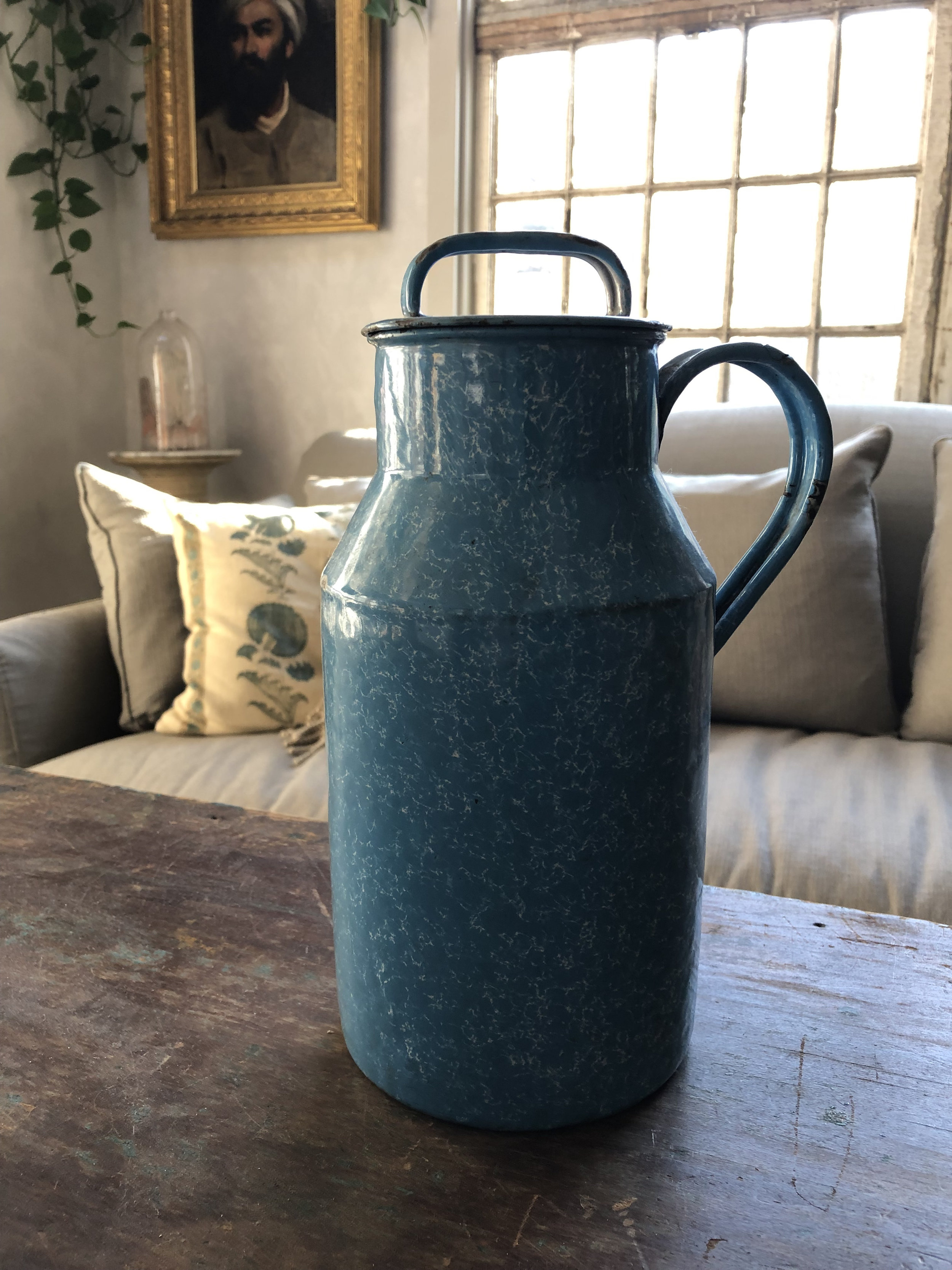 Enamelware Jug with Lid - Vintage piece that shows some age. Beautiful with flower branches. 10