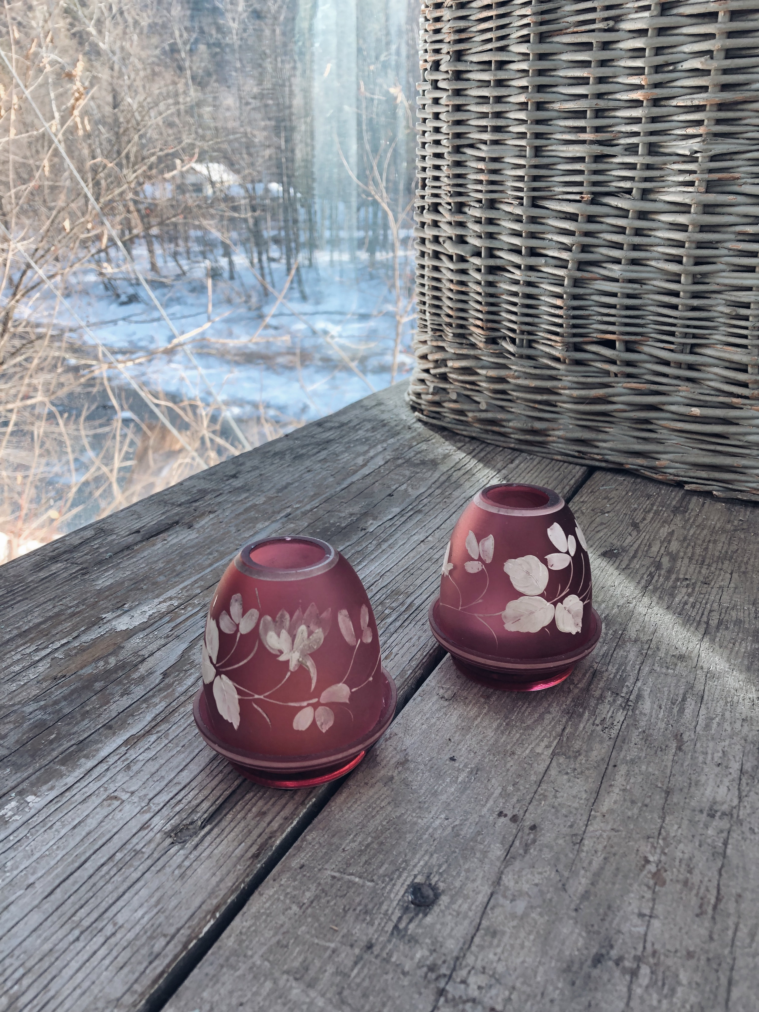 Pink Hand Painted Glass Tealight Holders (Set of 2) - Pretty little rose colored glass holders for tea lights. One has slight chips around the rim that aren't really noticeable. 3