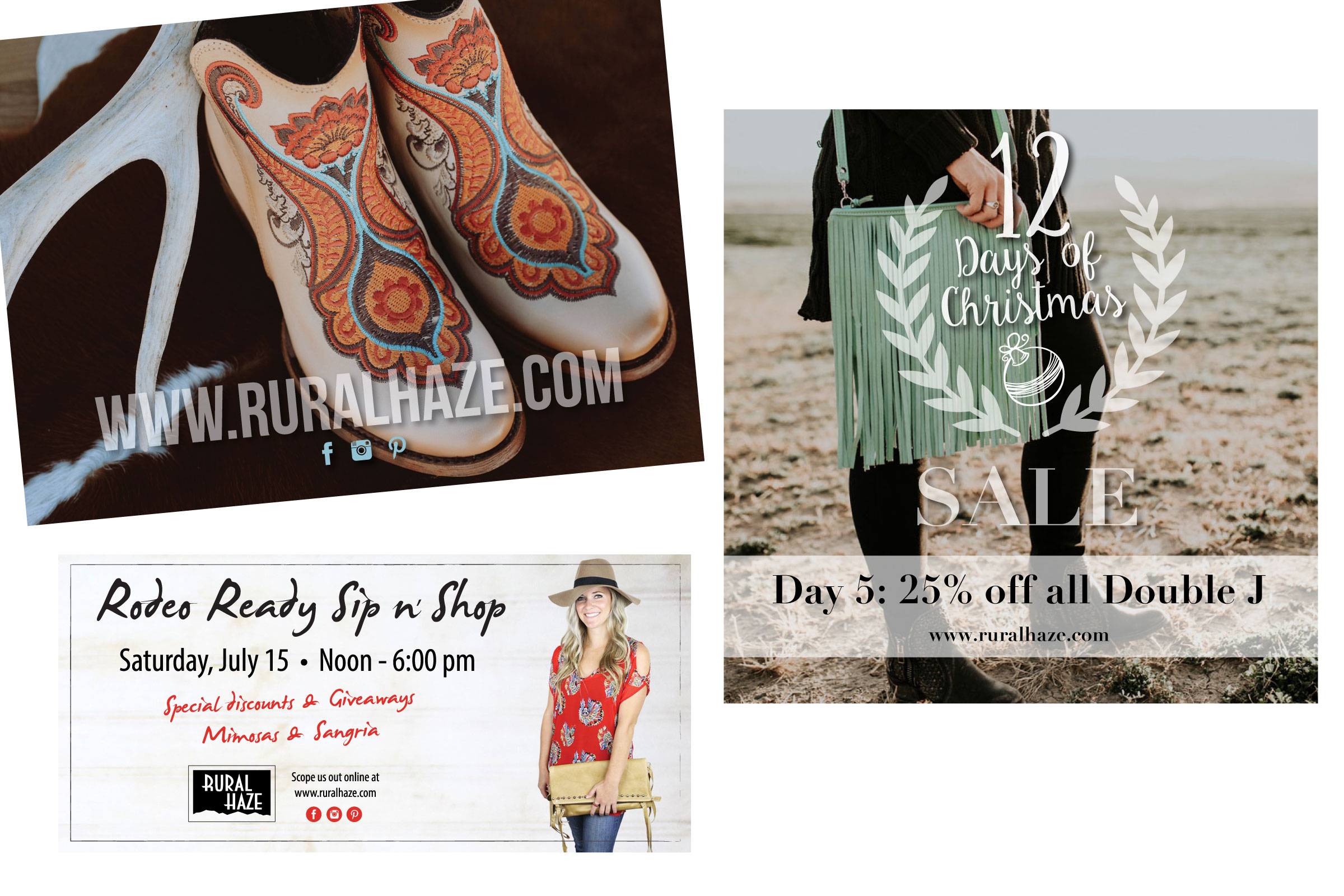 Rural Haze  is a boho-chic women's clothing boutique in Meridian, Idaho. We work together on their print marketing pieces and some social media and website graphics. Check them out online… if you are a boot fanatic they have a crazy good selection!