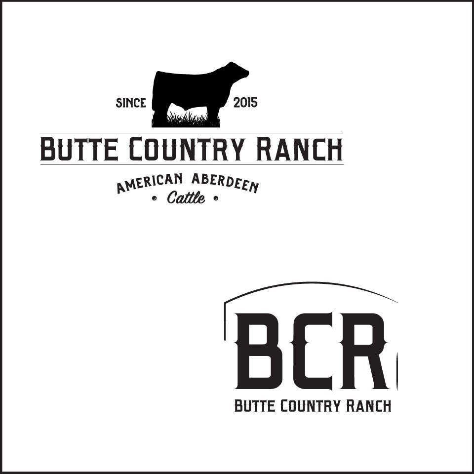 Primary and secondary branding marks in black and white for the newly designed logo for Butte Country Ranch