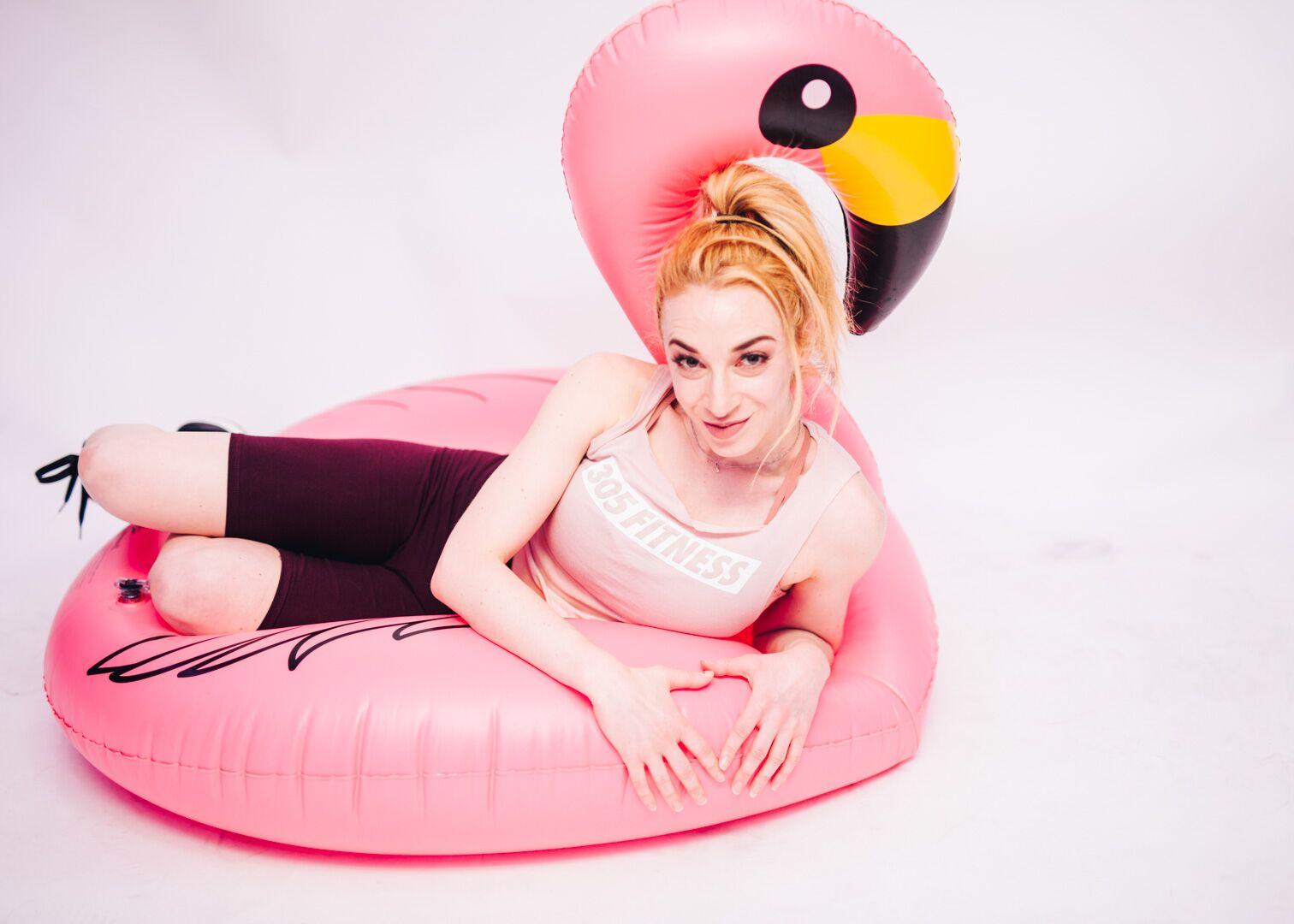 Photo of Bex With Flamingo Float Dance Cardio Live Dj.jpg