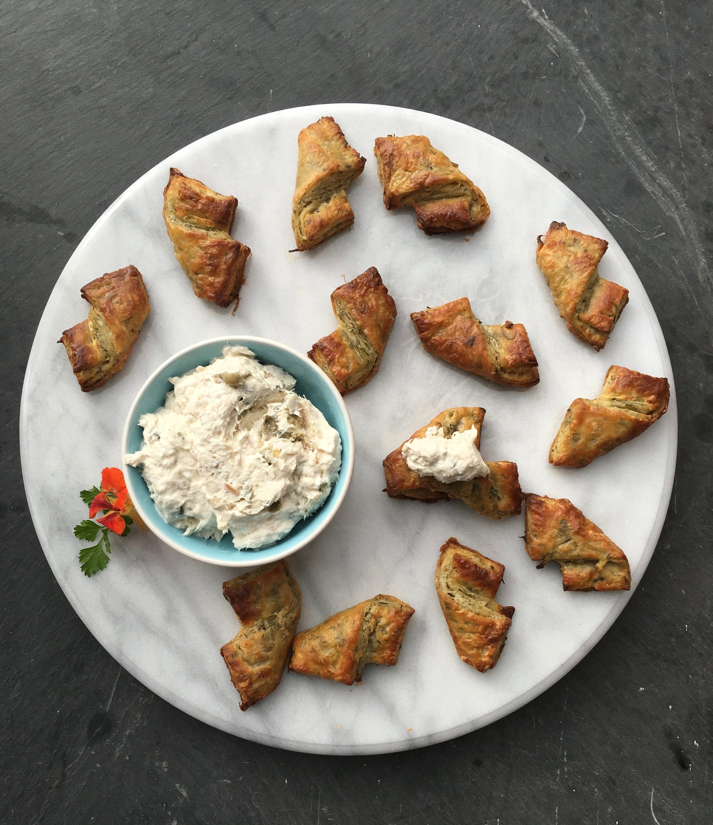 Horseradish dill pastries with smoked trout dip