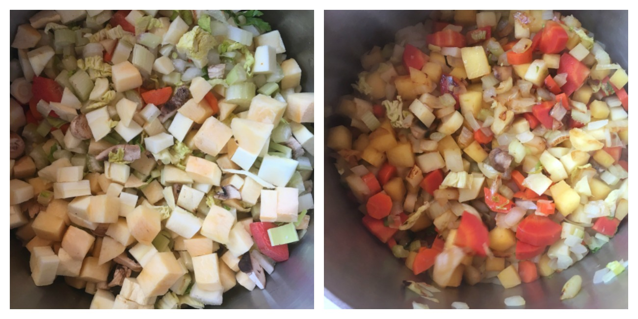 """Cooking the vegetables with the lid on is called """"sweating"""" them; they saute and steam at the same time, which releases and concentrates flavor."""