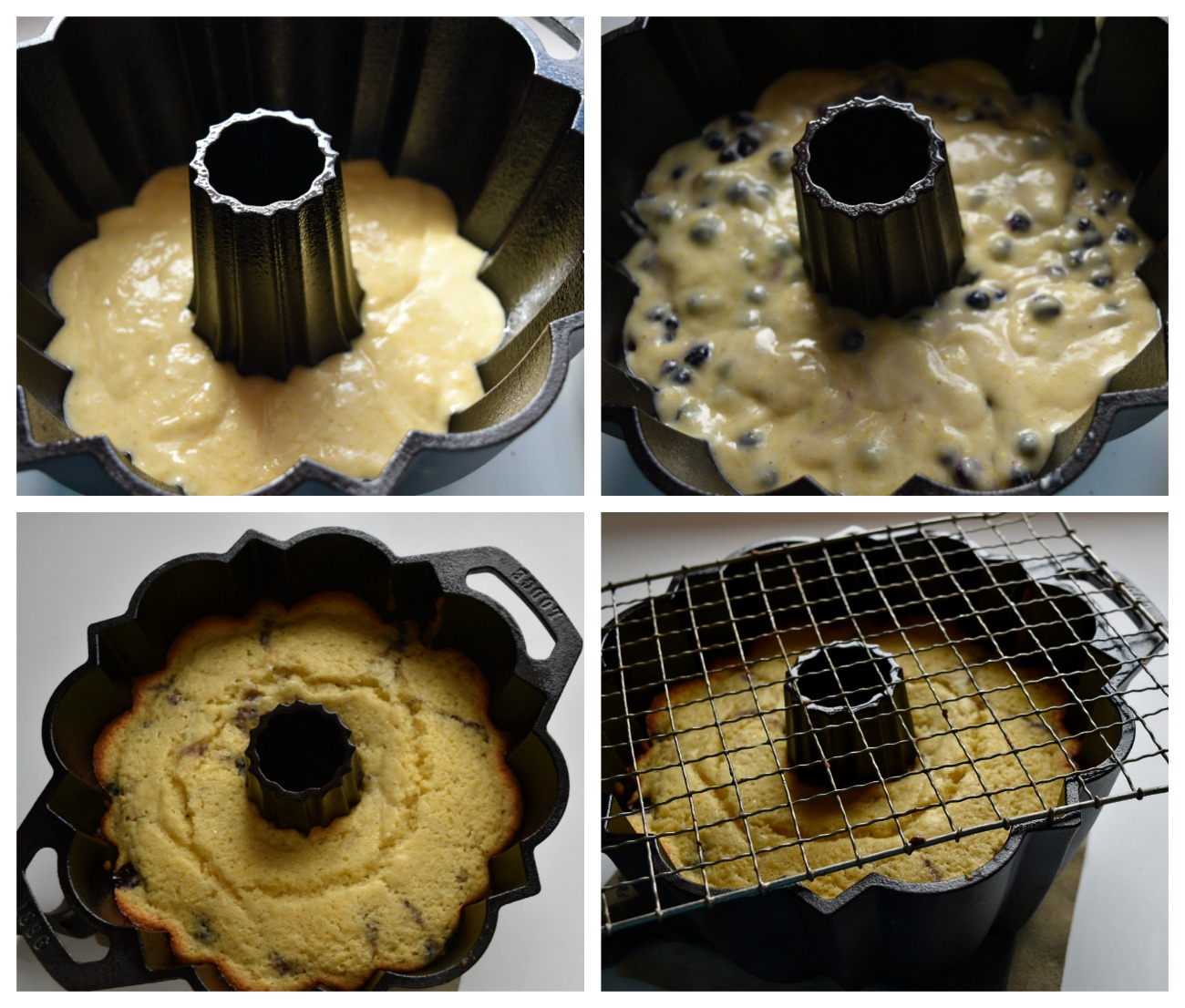 The berries are going to want to sink, so putting them in the upper 2/3 of the batter will land them about in the center once the cake is baked.