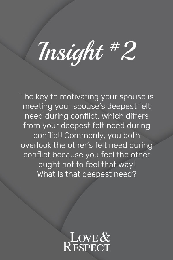 Insight #2  - The key to motivating your spouse is meeting your spouse's deepest felt need during conflict, which differs from your deepest felt need during conflict! Commonly, you both overlook the other's felt need during conflict because you feel the other ought not to feel that way! What is that deepest need?