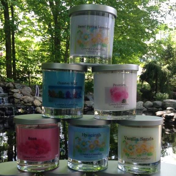 Lynne's Candles - 100% all natural soy wax candles. No additives, fillers or paraffin. Phthalate free fragrances. Burns nice and clean.https://www.facebook.com/peachprinting/