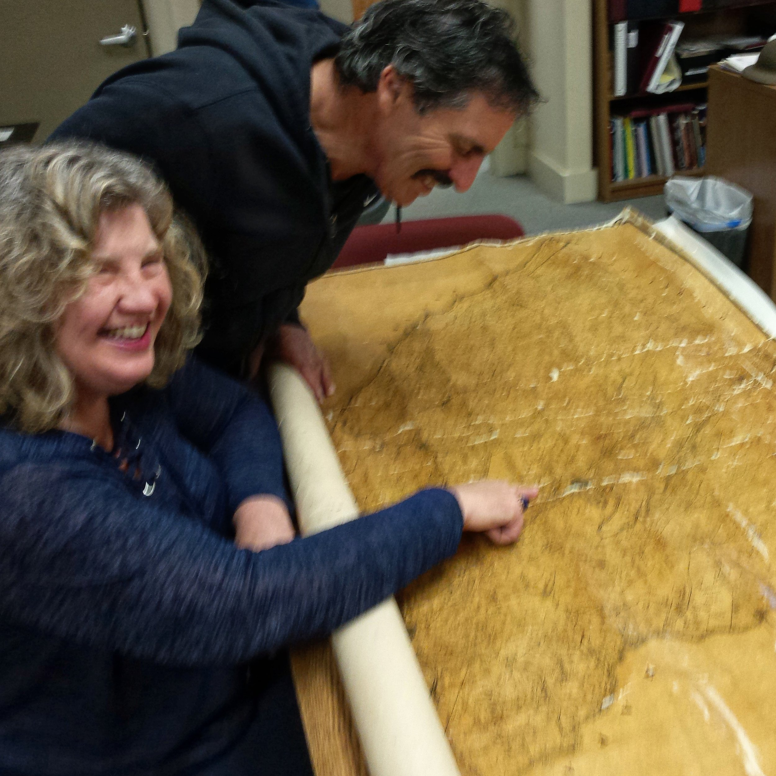 Holly Hoods with Doug Rafanelli with historic map at Healdsburg Museum 2017