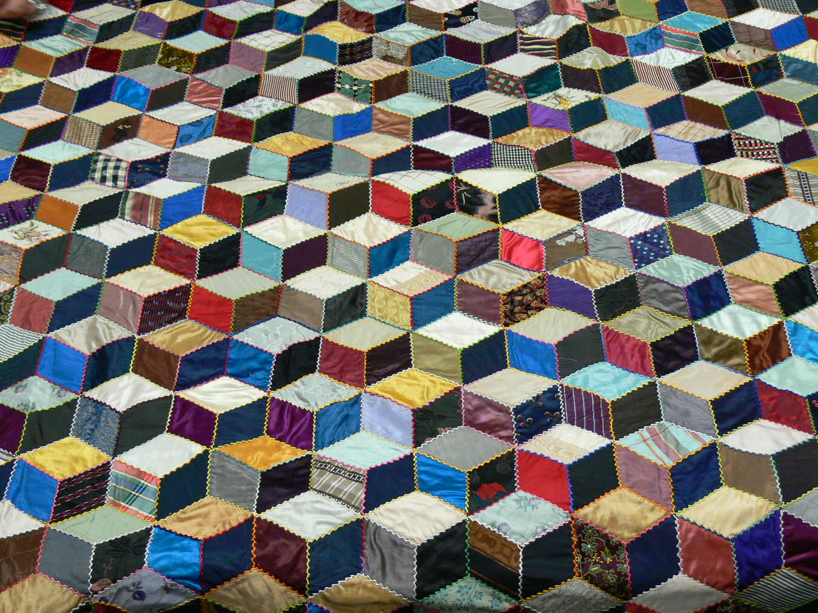 Tumbling blocks quilt top by Josephine Fitch Bailhache