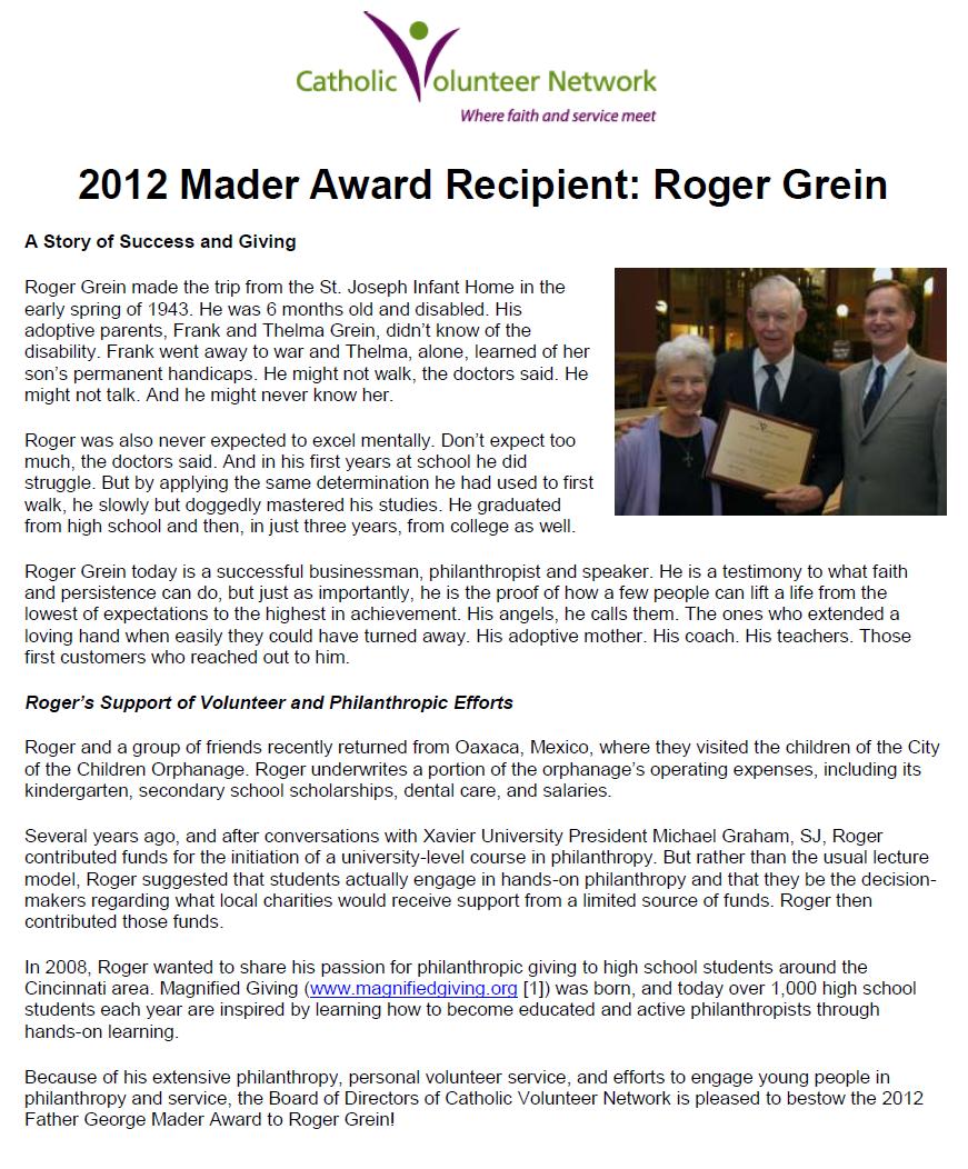 Fr. Mader Award    November 2012