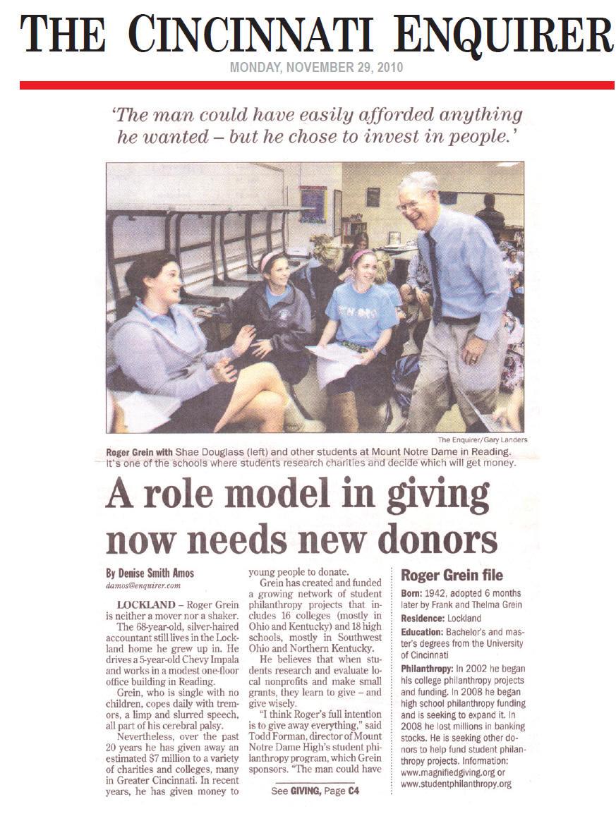 Cincinnati Enquirer  November 2010