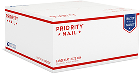 a Medium or Large USPS Priority Mail Box will be used  *Anything that does NOT fit in one of these size boxes, will be calculated separately*