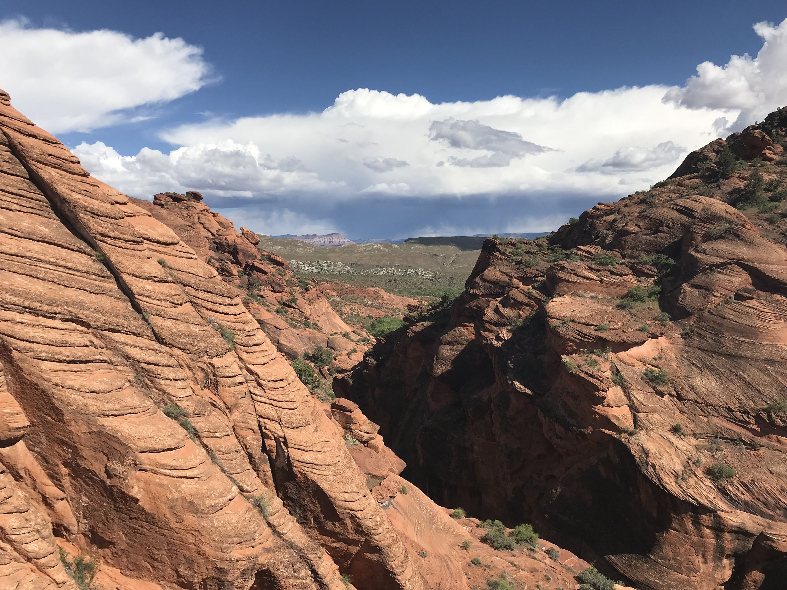 The view from a secret spot off Red Cliff Reef Trail in the Red Cliffs Desert Reserve.