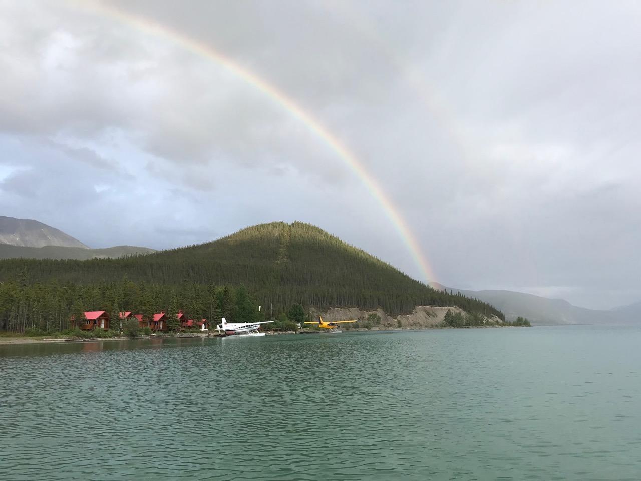 Double rainbow over Muncho Lake!