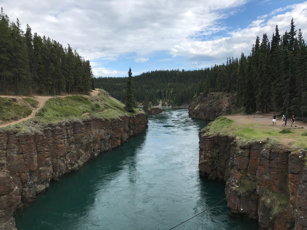This used to be one of the Yukon's most dangerous rapids. Now after a dam was installed downstream, the water is still fast but not as white.