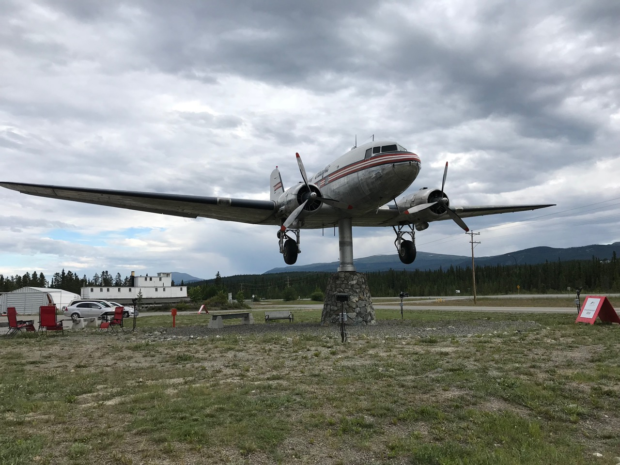 This retired DC-3 commercial plane used to fly across the North, and now serves as one big weathervane.