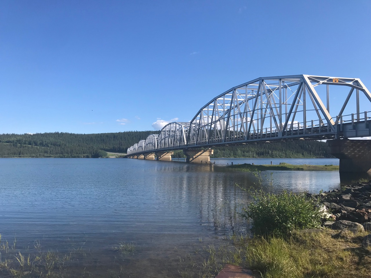 The Alaska Highway crosses many bridges, including this one over Teslin Lake.