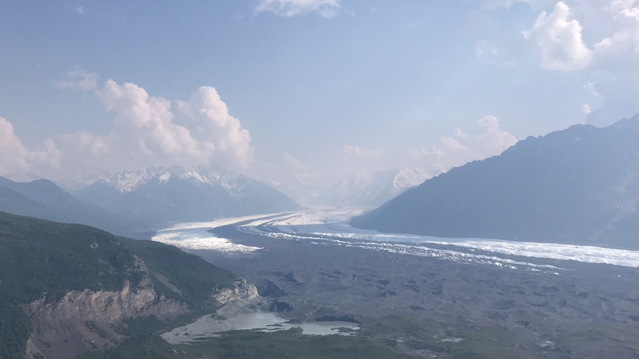 Matanuska Glacier, 27 miles long, emerges from the Chugach Mountains.