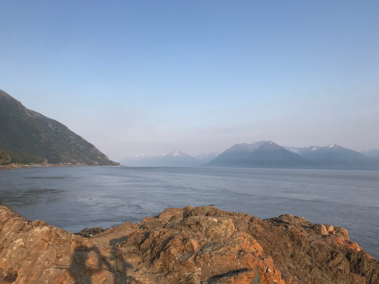 The view south along Turnagain Arm. The tides here sometimes reach 30 feet!