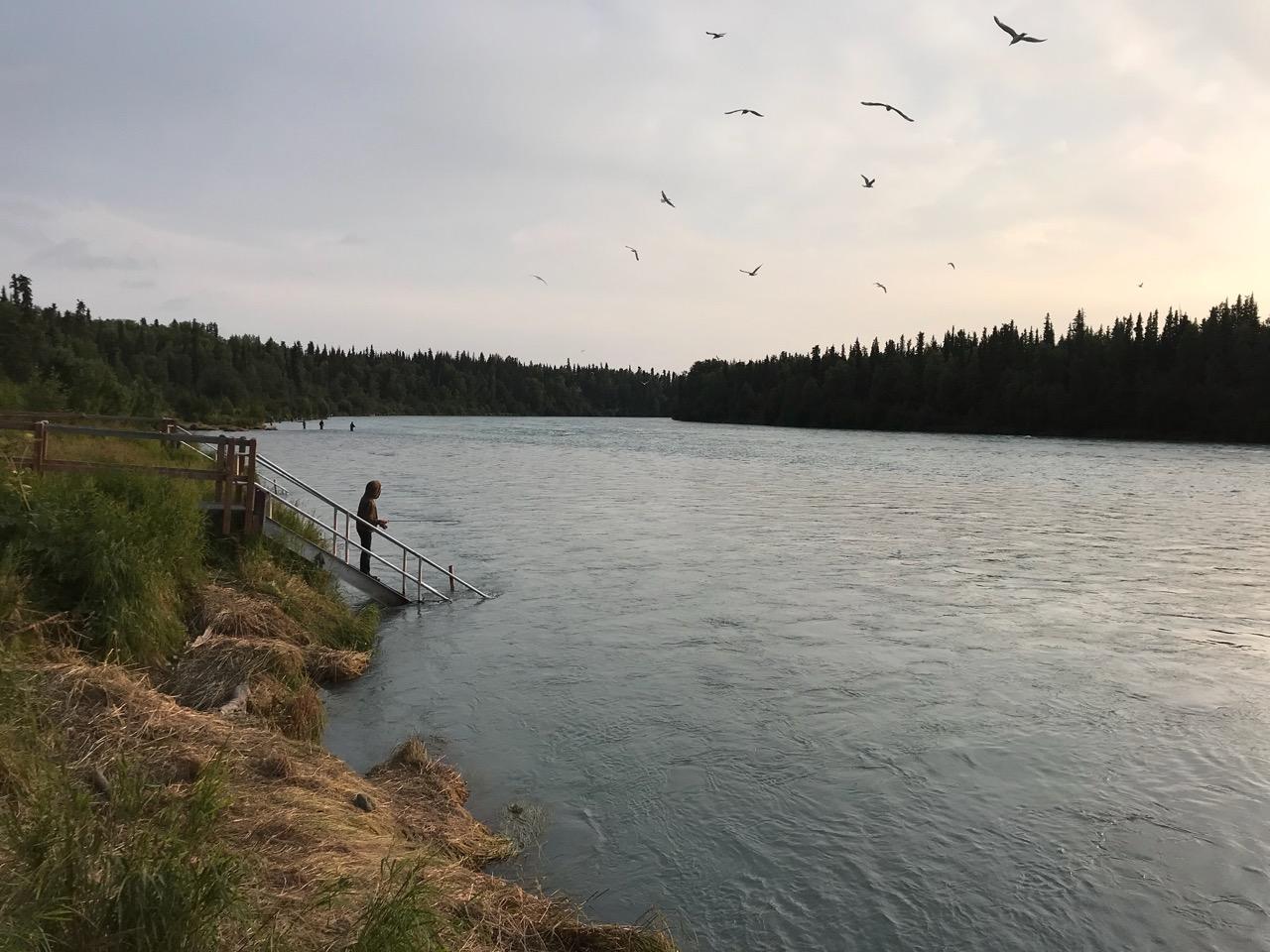 Jack fishing on the blue-green Kenai River.