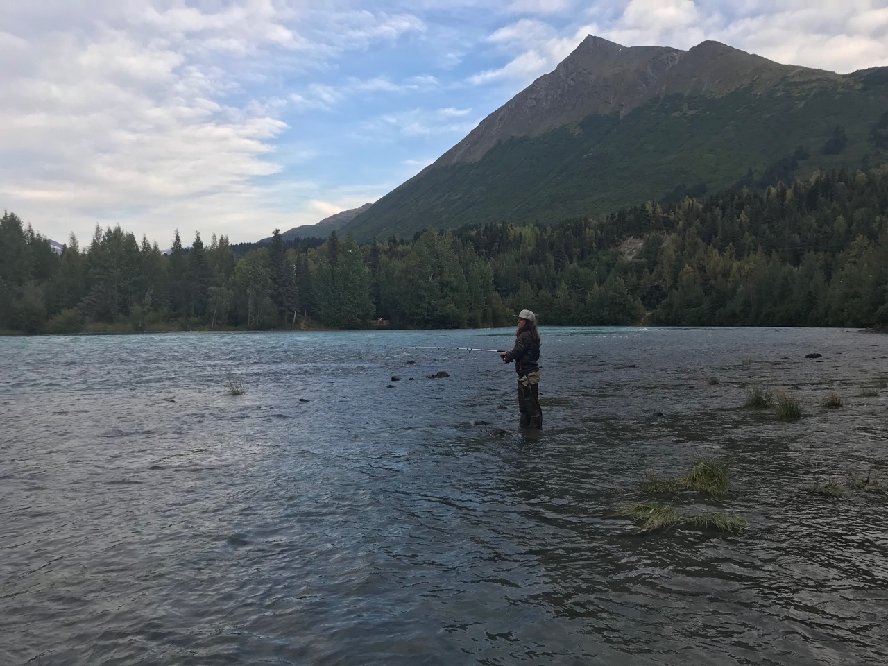 Jack waiting for the bite on the Upper Kenai River.