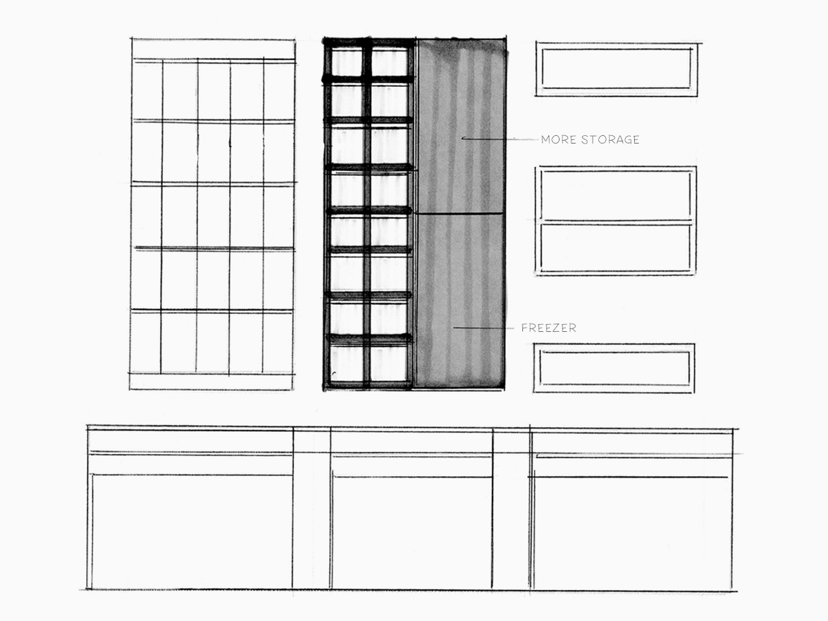 finalized layout for garden wall, refrigerator, and shelving
