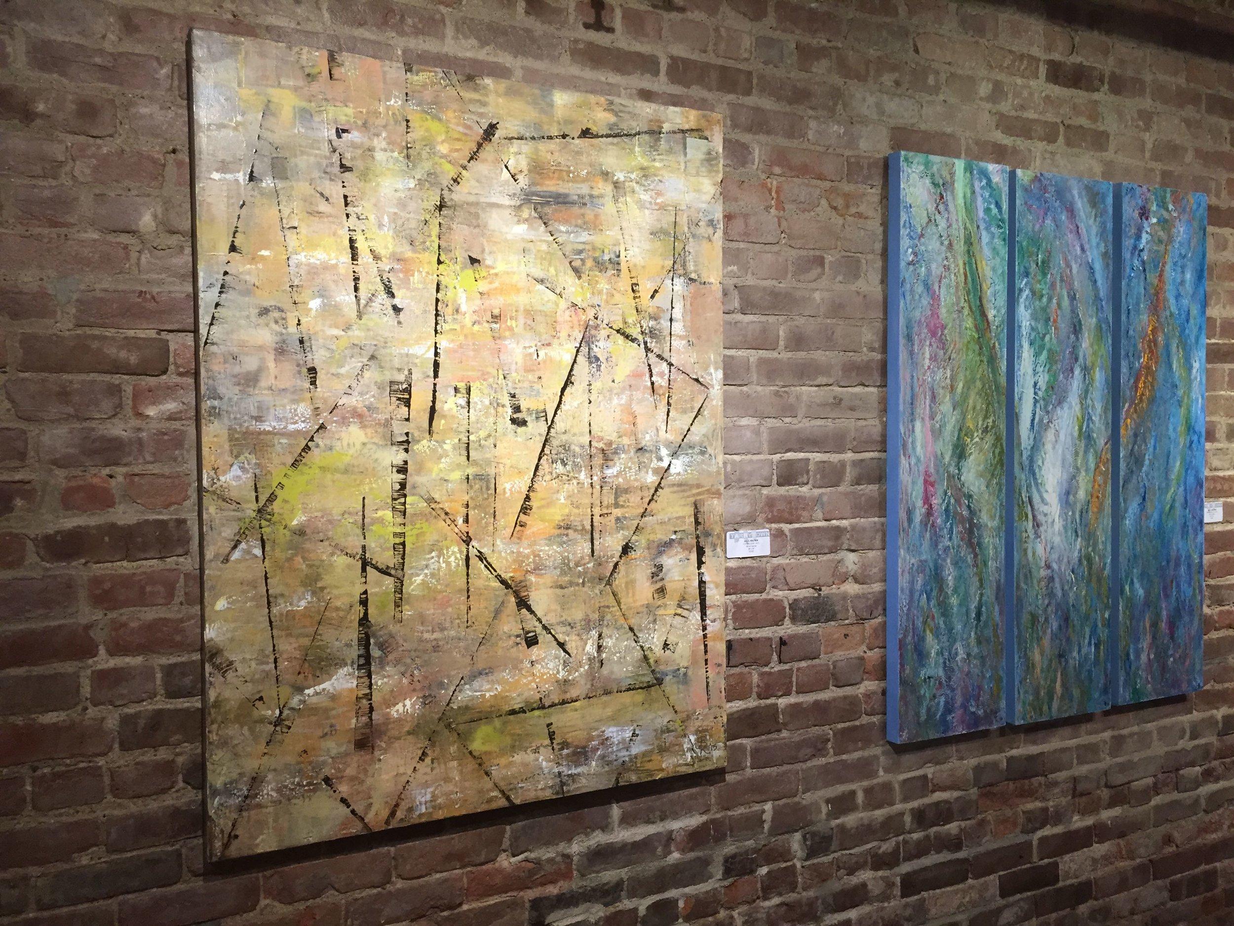 Jill S. Krutick, CUTTING EDGE, 2015 (Left) Oil on canvas, 48 x 36 inches (121.9 x 91.4 cm); PURPLE RAIN, 2013 (Right) Oil on canvas, 48 x 36 inches (121.9 x 91.4 cm). Three panels, 48 x 12 inches (121.9 x 30.5 cm) each.