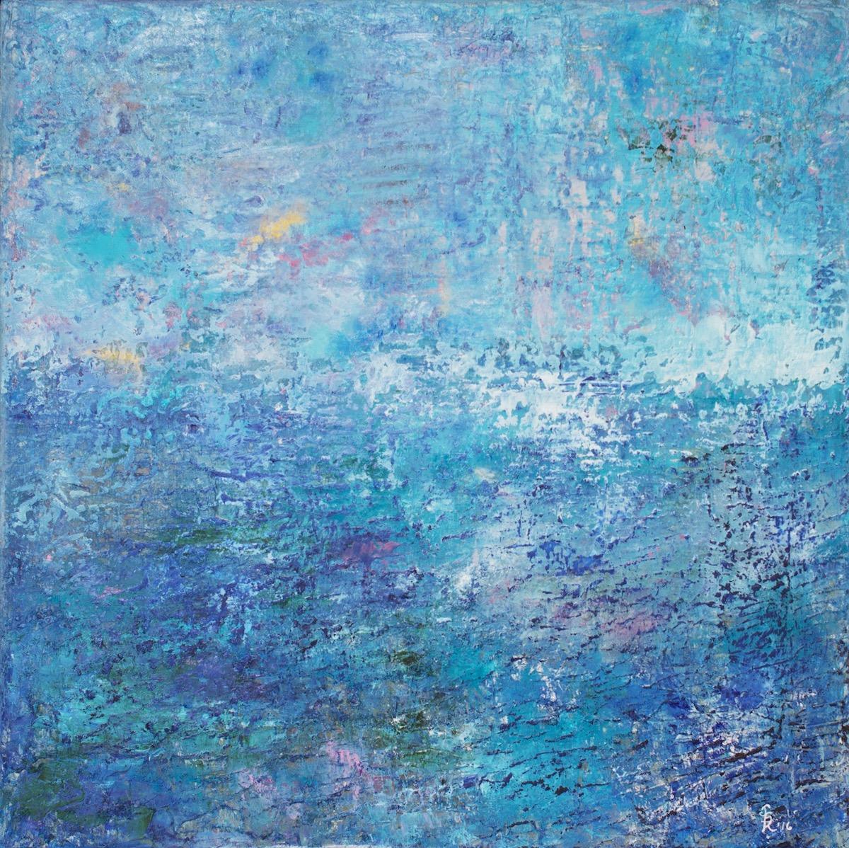Jill, Krutick,  Beach Day, 2016 , Oil on canvas, 40 x 40 inches (101.6 x 101.6 cm). Framed: 42 x 42 inches (106.7 x 106.7 cm). Dreamscape Series.