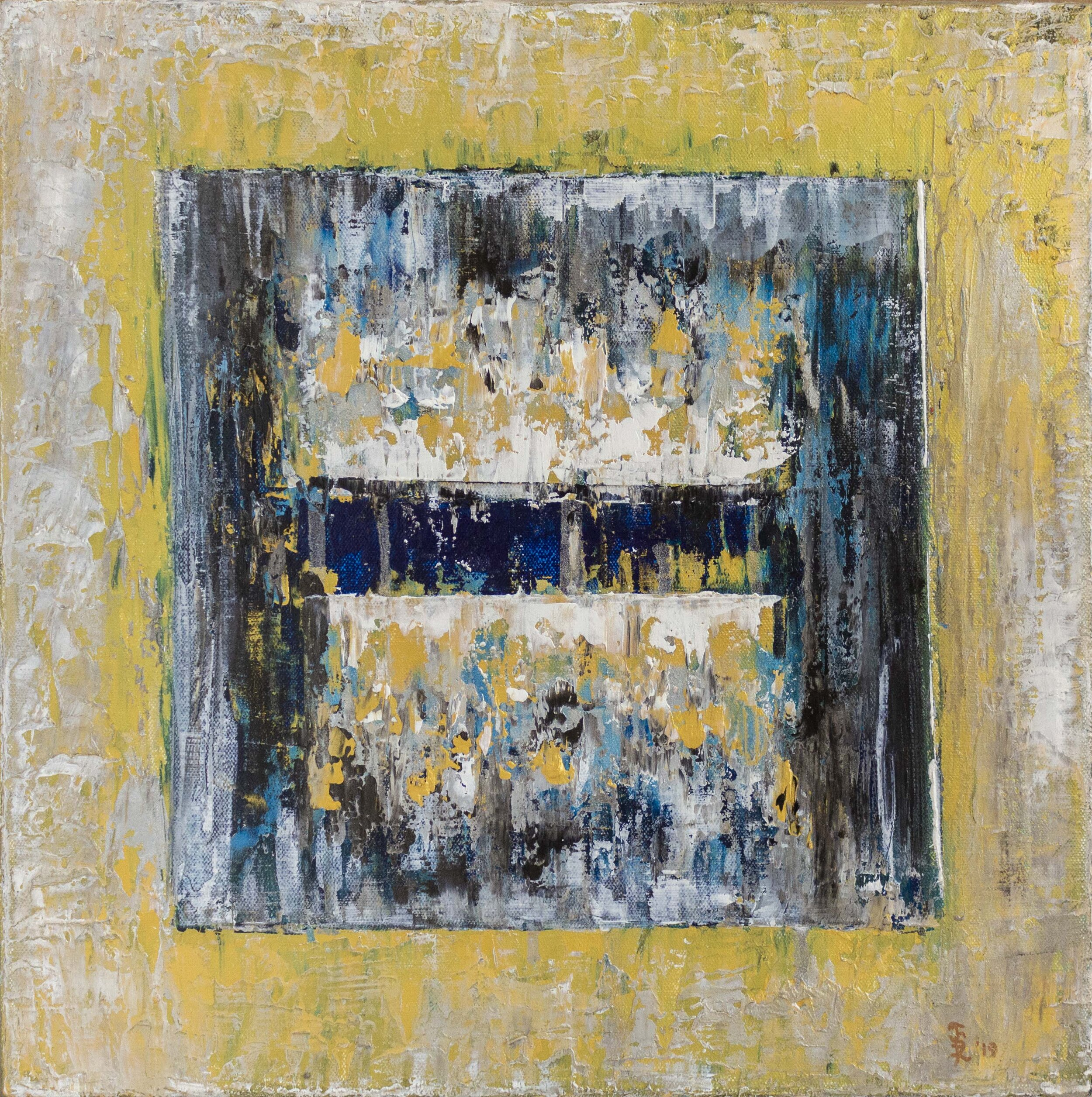 Ice Cube Small Gold & Blue, 2019