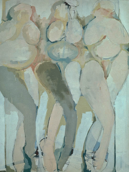 """<i>Three Women With Outlet 2</i> <br> 46 x 64"""", Oil on Canvas"""