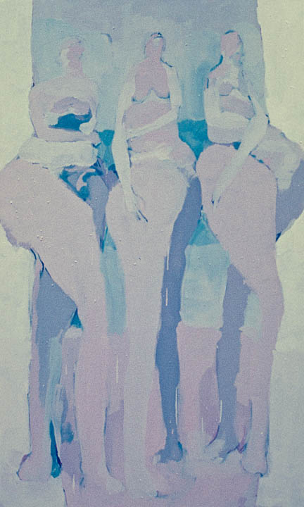 """Three Women With Outlet 3  28 x 60"""", Oil on Canvas"""