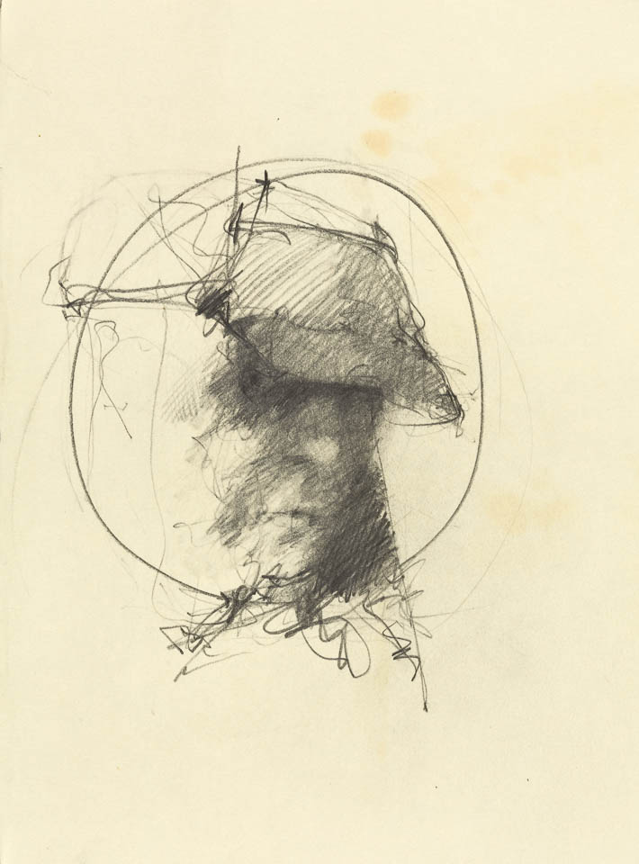 "Bike Man Head Study, 12 x 12"", Graphite on Paper"
