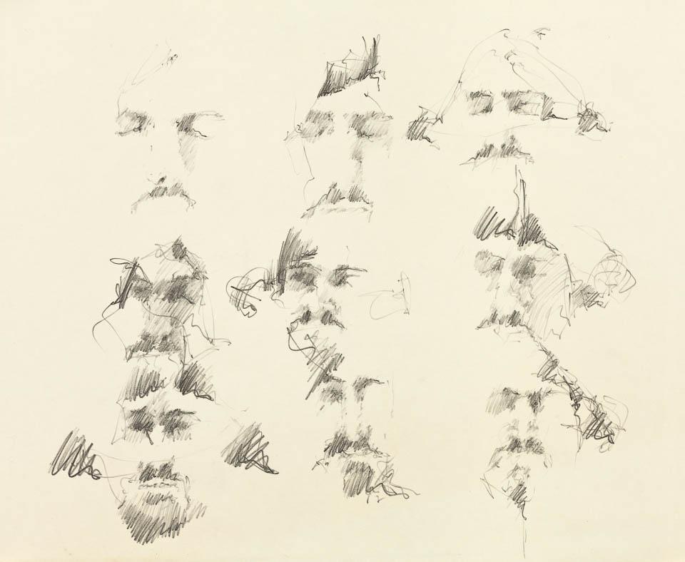 Head Studies, Graphite on Paper