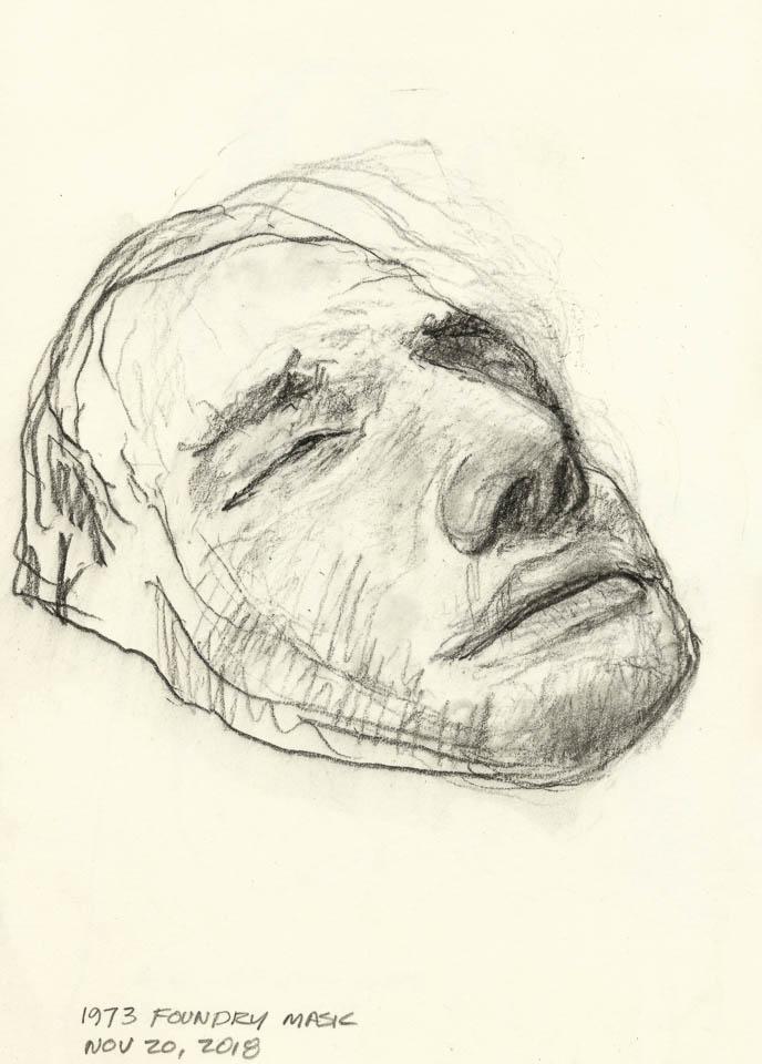 Mask Study, Graphite on Paper