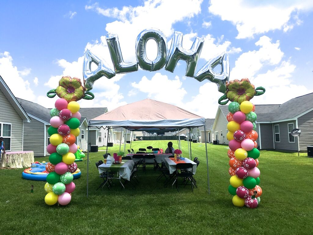 Word Arch | Starting at$200 - 8-foot columns with Mylar letter toppers. Price depends on number of letters.